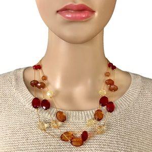 Vintage Avon Layered Necklace Red Orange Yellow
